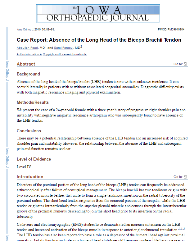 Case Report: Absence of the Long Head of the Biceps Brachii Tendon